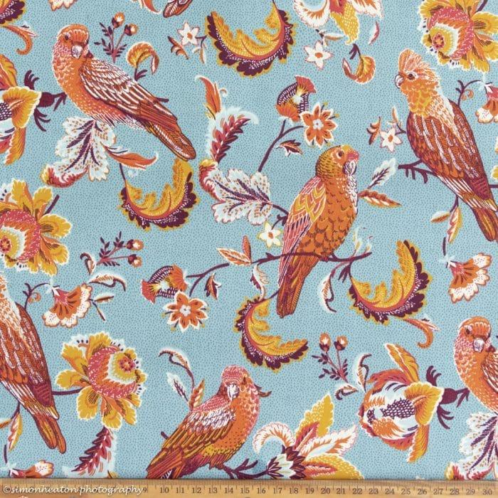 Organic Cotton Poplin Dress Fabric - Parrots Turquoise