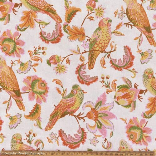 Organic Cotton Poplin Dress Fabric - Parrots Pink