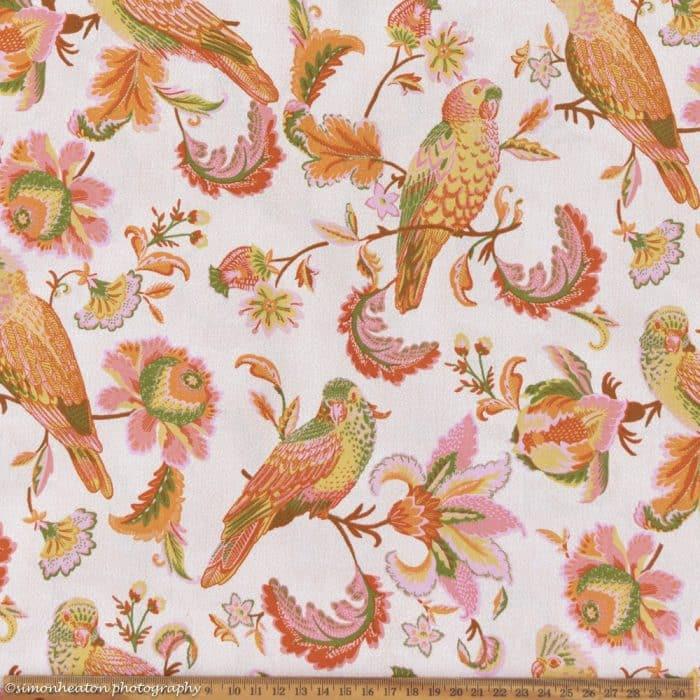 Organic Cotton Poplin Dress Fabric - Parrots Pink