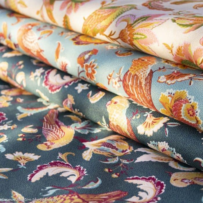 Organic Cotton Poplin Dress Fabric - Parrots Deep Teal