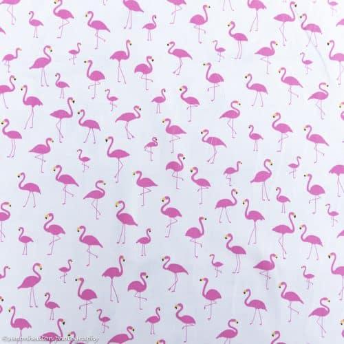 pink flamingos cotton poplin