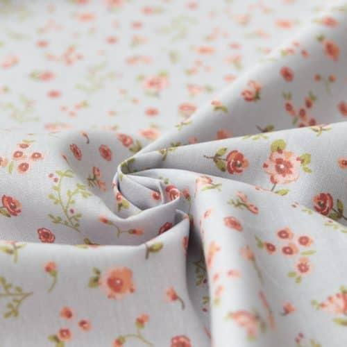 Organic Cotton Poplin Dress Fabric - Sweet Flowers Grey-Blue