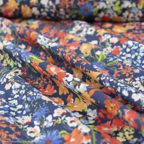 Linen Chambray Dress Fabric - Wild Botanics
