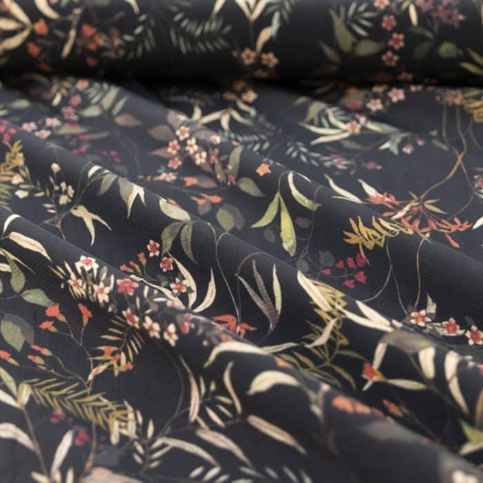 Viscose Dress Fabric - Foliage and Flowers