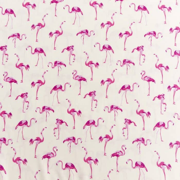 Viscose Dress Fabric - Pink Flamingos