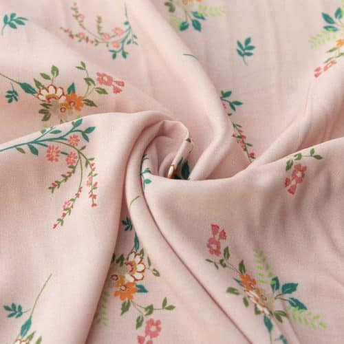Viscose Lawn Dress Fabric - Blush Pink and Green