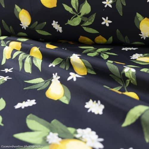 Cotton Poplin Stretch Dress Fabric - Lemons on Navy