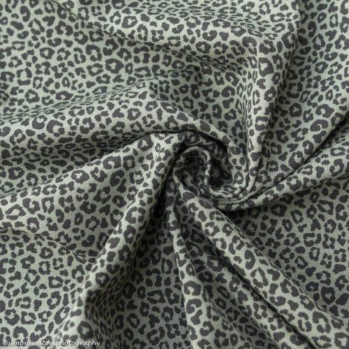 Cotton Jersey Dress Fabric- Leopard Print Khaki