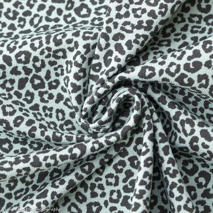 Cotton Jersey Dress Fabric- Leopard Print Duck Egg