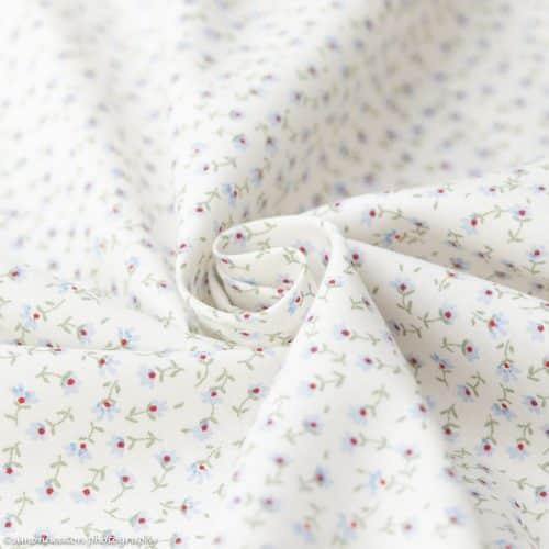 Floral Ditsy Cotton Poplin Dress Fabric 112cm- Light Blue