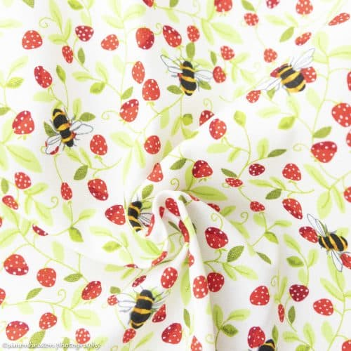 bees and berries cotton poplin