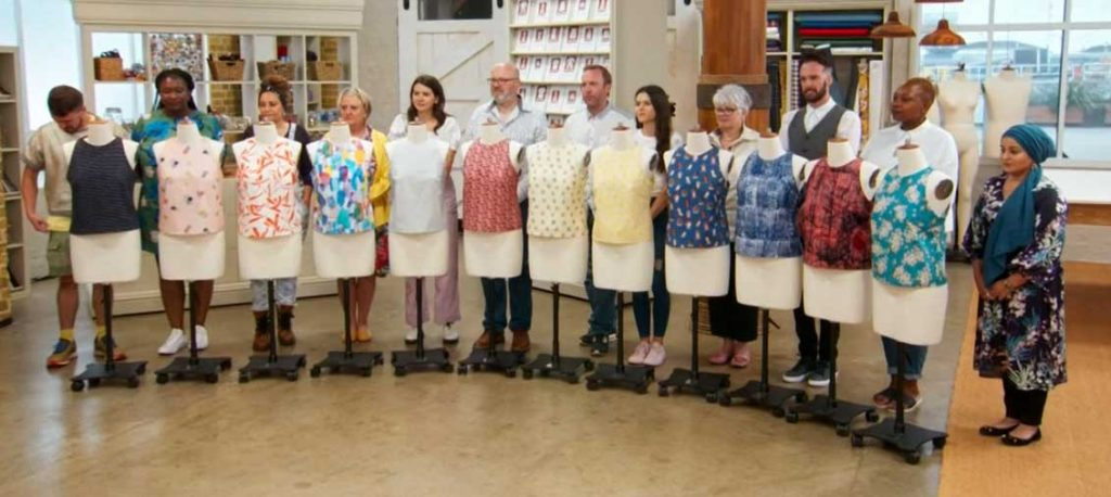 The Great British Sewing Bee contestants show off their completed shell tops