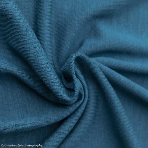 Teal Bamboo Jersey Dress Fabric