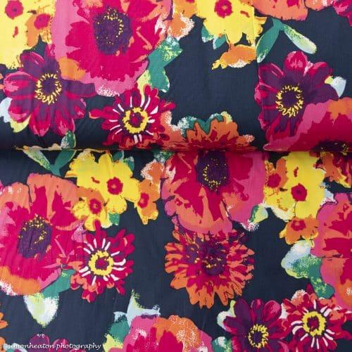 Cotton Poplin Dress Fabric - Summer Bloom on Navy