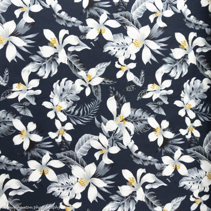 Linen Chambray Dress Fabric - Tropical Flowers on Navy