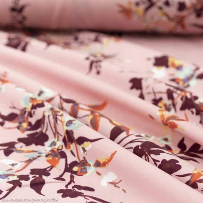 Viscose Lawn Dress Fabric - Pink with Burgundy Foliage