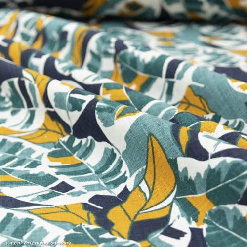 Washed Linen Print Dress Fabric - Teal