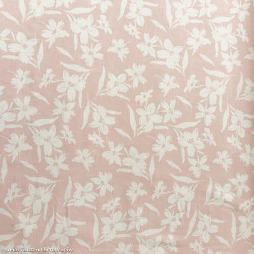 Linen Viscose Dress Fabric - Hibiscus