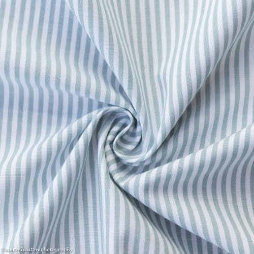 Cotton Poplin Dress Fabric - Duck Egg Stripes