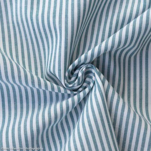 Cotton Poplin Dress Fabric - Light Teal Stripes