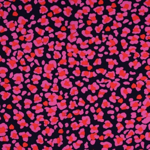 Animal Print Viscose Dress Fabric - Black and Cerise