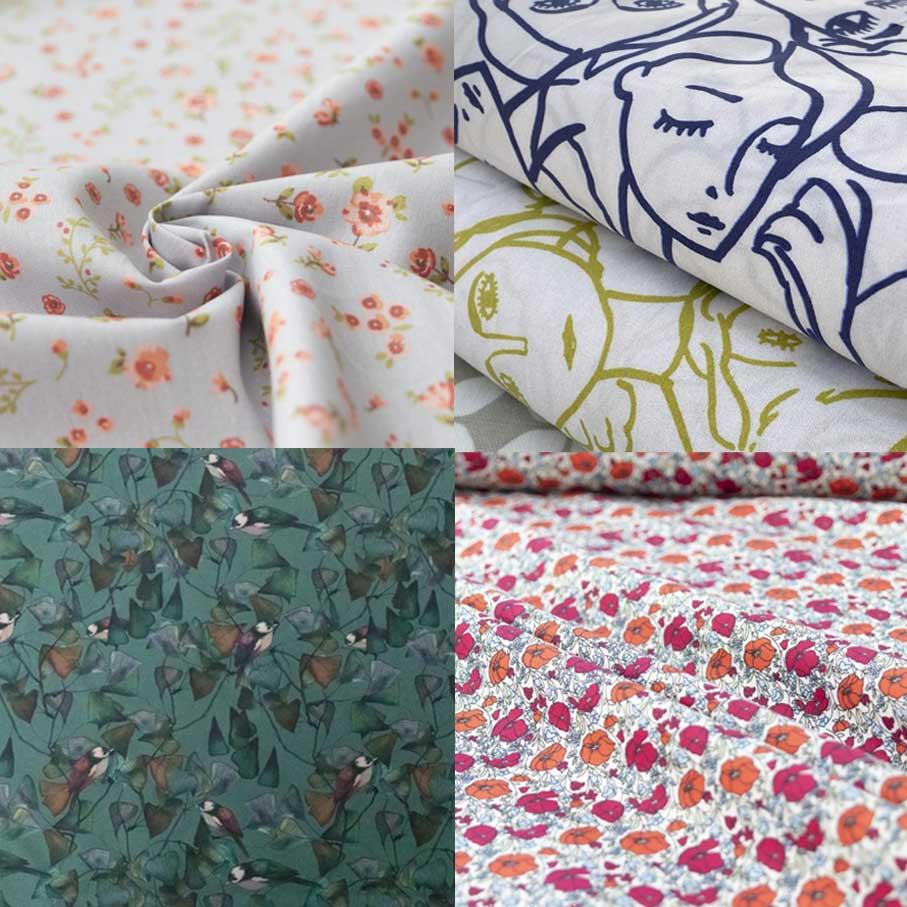 Clockwise from top left: Organic Cotton Poplin - Sweet Flowers Grey-Blue Lady McElroy Cotton Lawn - Crowded Faces Fine Cotton Lawn - Poppies Organic Cotton Lawn - Ginkgo Birds