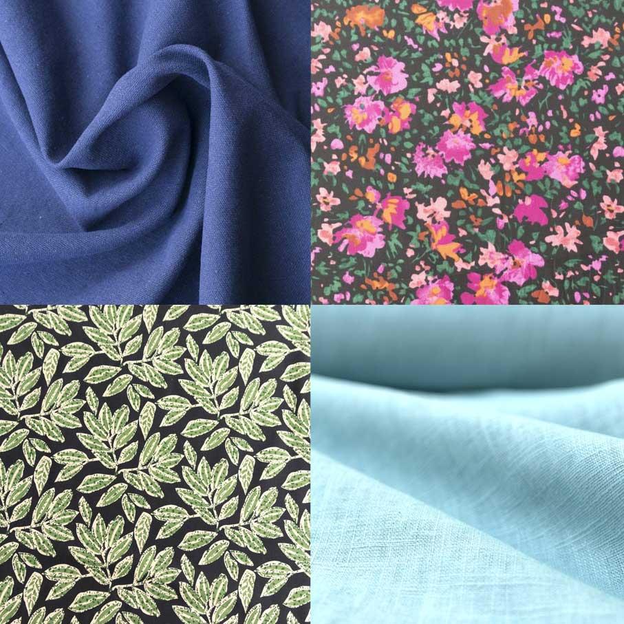 Clockwise from top left: Linen Cotton Blend - Cornflower Blue Cotton Poplin - Flower Meadow On Black Bio Linen - Aqua Cotton Poplin - Regency Green Leaves