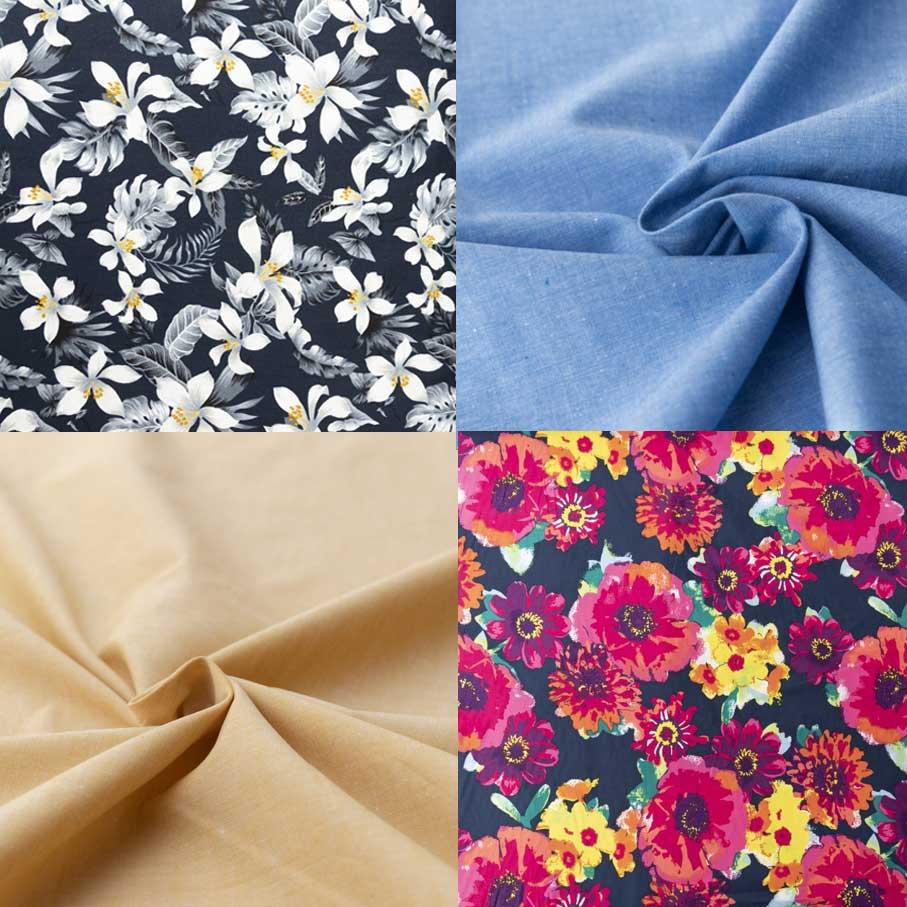 Clockwise from top left: Cotton Poplin - Summer Bloom on Navy Cotton Chambray Poplin - Blue Linen Chambray Tropical Flowers on Navy Cotton Chambray Poplin - Light Ochre
