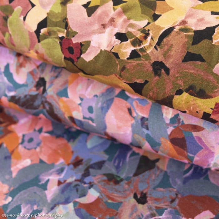 Digital Print Viscose Jersey Dress Fabric - Abstract Flowers Blue