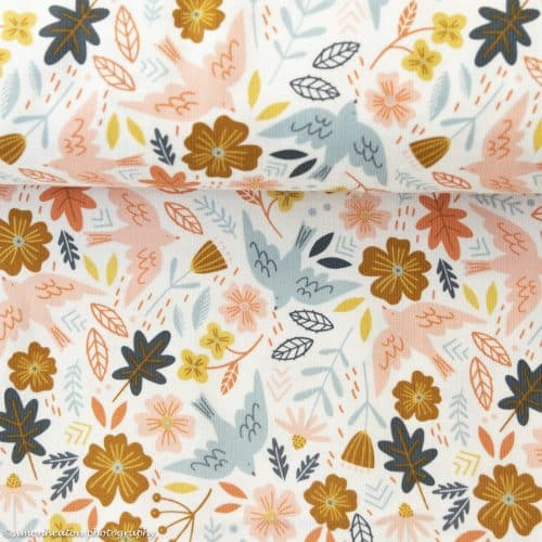 Finecord Print Dress Fabric - Flying Birds on Ivory