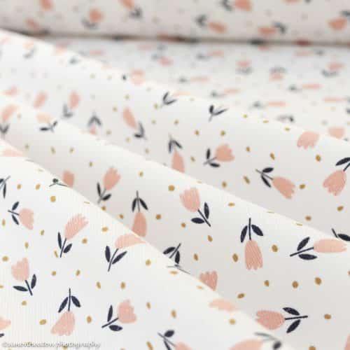 Finecord Print Dress Fabric - Tulips on Ivory