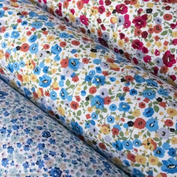 Cotton Poplin Dress Fabric 112cm - Flower Abundance - Fuchsia and Grey