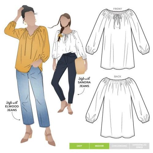 anita peasant blouse by style arc patterns