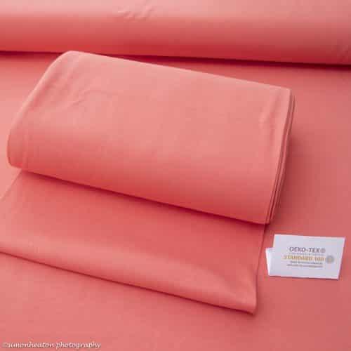Organic Cotton Rib Cuff Fabric - Coral
