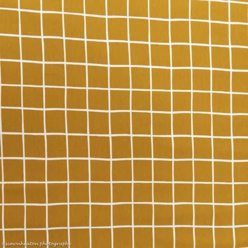 Organic Sweatshirt Jersey Fabric - Ochre Grid