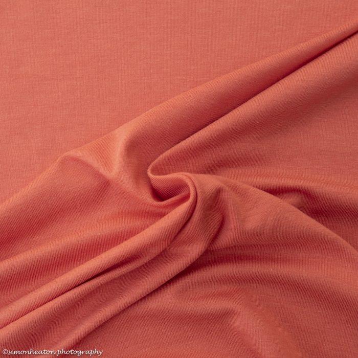 Coral Bamboo Jersey Dress Fabric