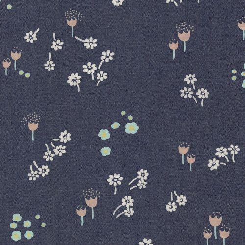 Ditsy Abrasion Chambray Denim Print Fabric - AGF Denim Studio