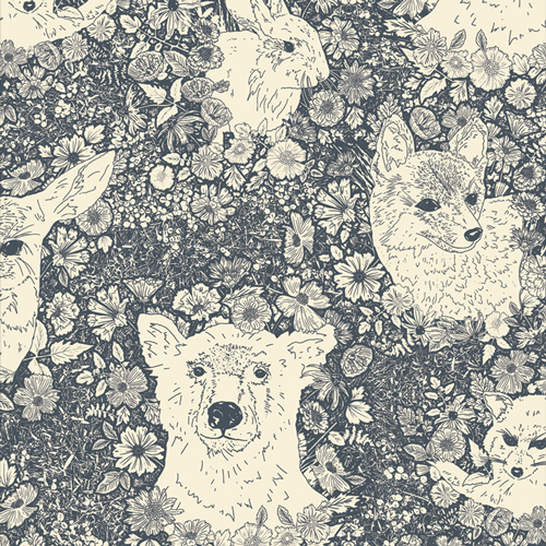 Wandering With Bear by Art Gallery Fabrics in Flannel